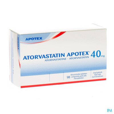 Atorvastatin Apotex 40mg Filmomh Tabl 98 X 40mg