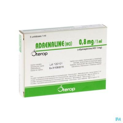 Adrenaline Hcl Sterop 0,8mg/ml Sol Inj 5 X 1 Ud