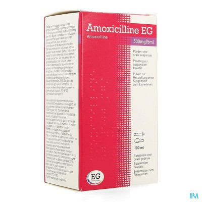 Amoxicilline Eg 500mg/5ml Pdr Orale Susp 100ml