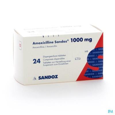 Amoxicilline Sandoz 1000mg Tabl Disp 24