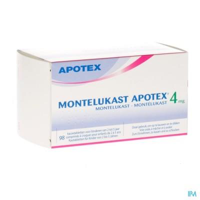 Montelukast Apotex 4mg Kauwtabl 98 X 4mg