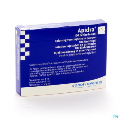 Apidra 100 U/ml Cartouche Patronen 5x3 ml 1500 U