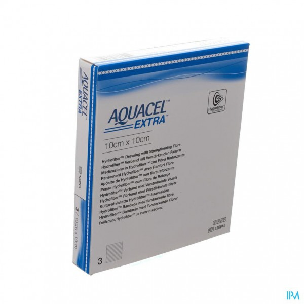 Aquacel Extra Verb Hydrofiber+versterk. 10x10cm 3
